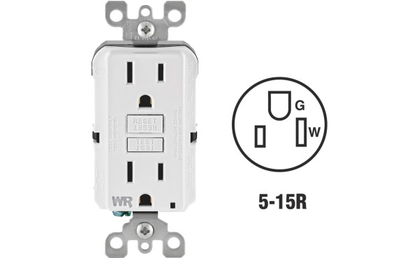 Leviton SmartlockPro Self-Test 15A White Residential Grade Tamper & Weather Resistant 5-15R GFCI Outlet