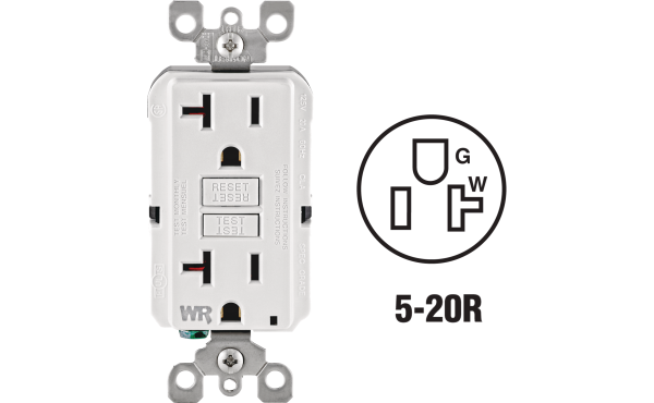 Leviton SmartlockPro Self-Test 20A White Residential Grade Tamper & Weather Resistant 5-20R GFCI Outlet
